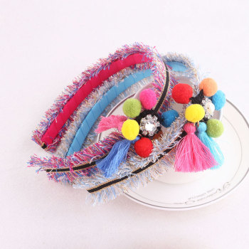 New colors pom pom hair band with tassel