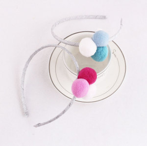 Popular pom pom ball hair band for kids