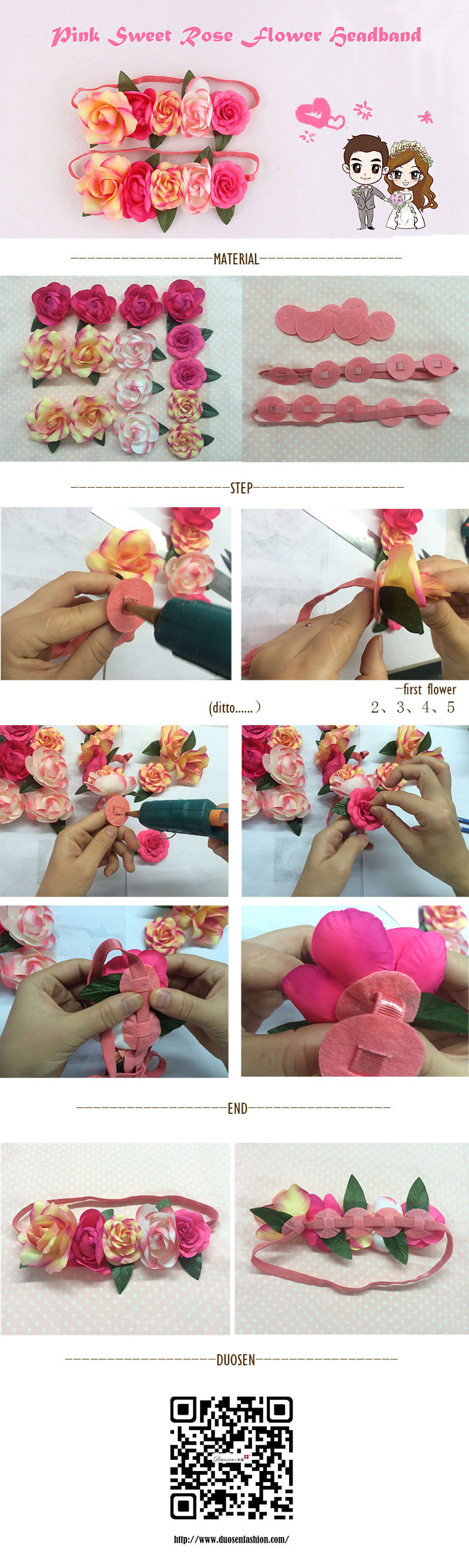 one minute tutorial about how to make sweet rose flower headband quickly