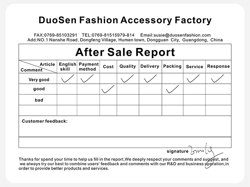 good feedback from dongguan duoen hair accessory company's regular and new customers about our thoughtful service and earnest autitud