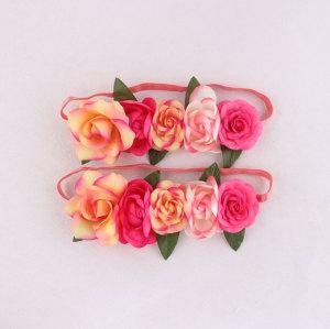 Romantic pink rose flower crown elastic headband wholesale