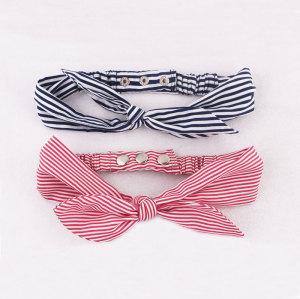 Adjustable fashion stripes rabbit bowknot korean headband with stud
