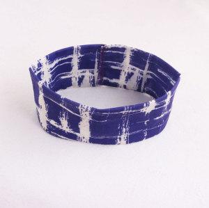 Blue nice elastic irregular tie-dyed headbands for yoga