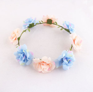 Light pink and blue unique rose flower garland for girl