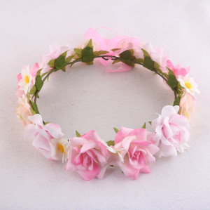Adjustable light pink rose floral crown with ribbon bowknot