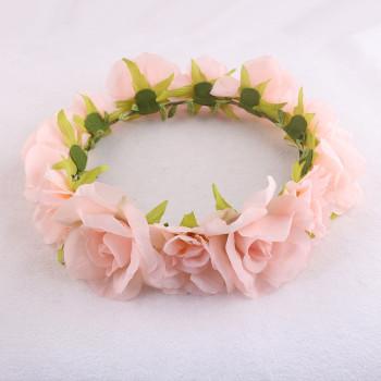 Large romantic pink peach pastel rose floral crown wholesale