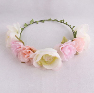 Lovely colorful girls rose flower crown headwrap spring