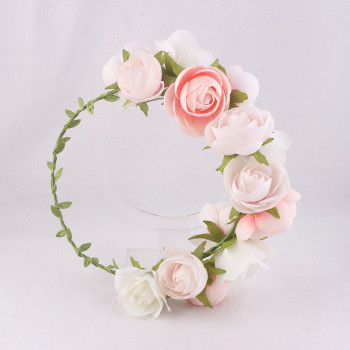 Romantic Pink Rose Flower Crown, wedding hair accessories, Coachella floral crown