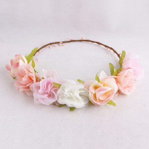 Cruise collection girls pink peach flower crown piece