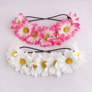 Prevernal  pink and white daisy flower headpiece girls