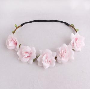 Emulational light pink rose flower headband for the early spring