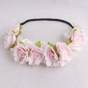 Spring series pastel pink China rose flower headband dride