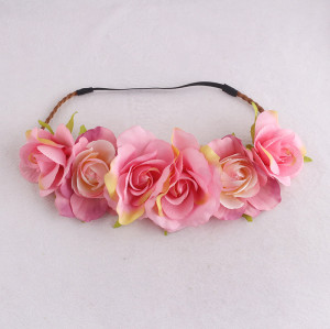 Spring artificial big peach pink rose flower headband