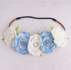 New Arrival blue and white silk rose flower crown elastic