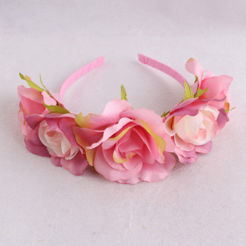 Newest pastel pink rose hair band flower hair hoop for kids