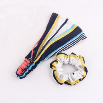 New mix-color striped rainbow headband wrap sports hair scrunchie set