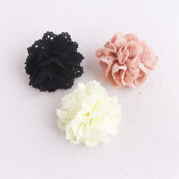 Eyelet chiffon lace flower hair clip flower hair accessory wholesale in china