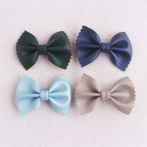 Fall color cute boutique baby girls hair bow leather hair clip in china for wholesale