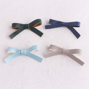 Sweet litchi stria leather bowknot hair clip for teens baby girls babies toddlers