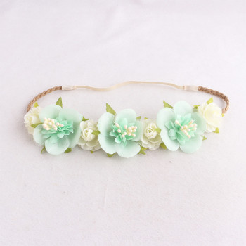 Green rose crown headband flower head piece in spring colors