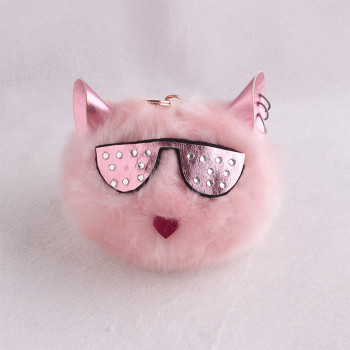 10cm Cool spectacled cat ear pom pom ball keychain furry pom pom accessory
