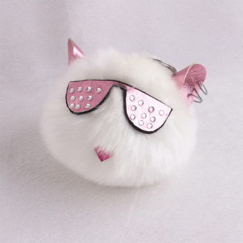 10 cm Spectacled cat ear faux fur pom pom keychain furry handbag accessory