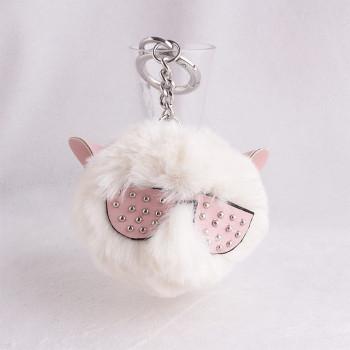 9cm Spectacled cat ear faux fur pom pom keychain hairy pom-pom key ring