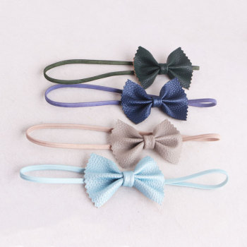 China company lovely new born baby girl leather bow headband for toddlers