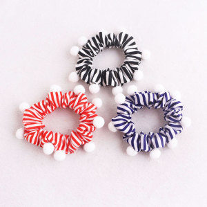 Beautiful kid striped hair scrunchie pom pom scrunchies elastic hair ties