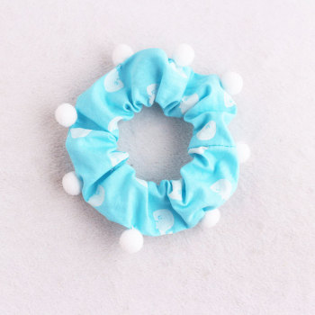 Blue girl pom pom bun wrap patterned hair scrunchies china wholesale
