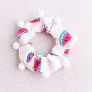 Lovely girl pom pom bun wrap watermelon hair scrunchies