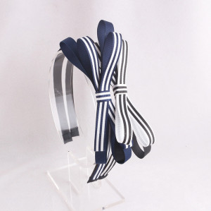 Dark blue striped ribbon bowknot hair band bow hair accessory