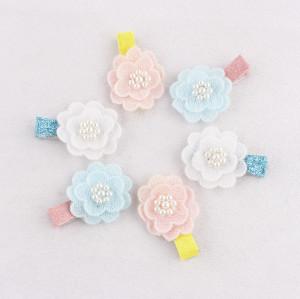 Custom pearl crochet flower hair clips for kids hair bang