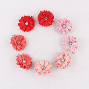 Boutique rhinestone small fabric coral daisy flower hair clip set for children hairstyle