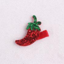 Red pepper glitter hairpin cute fruit felt hair clip kids