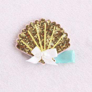 Gold shell glitter hair clip baby toddlers white glitter shell barrette