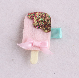 Pink baby felt food hair clip and popsicle glitter hair pins wholesale