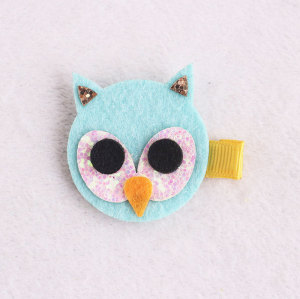 Wholesale green glitter piece felt owls for hair clips