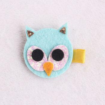 Wholesale green glitter piece felt owls for hair clips