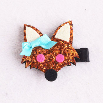 Animal felt hair piece felt fox glitter hair clip for girl