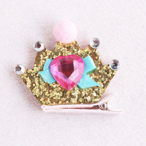 Lovely crown glitter hair clip princess felt hairpin with heart