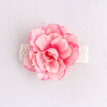 Wholesale large artificial flower head pink mesh rose headbands for toddlers