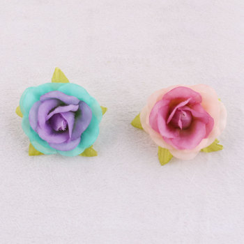 Double colors artificial mini rose flower hair clip bay girl