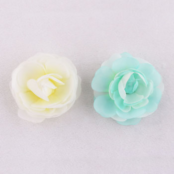 China company green/yellow silk flower rose hair clip for girls