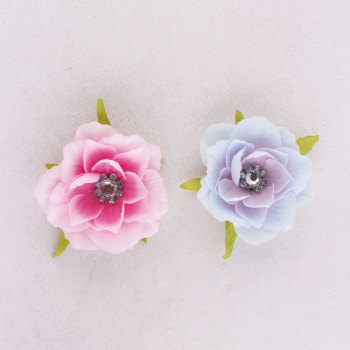 High quality pink rhinestone silk flower rose hair clip uk