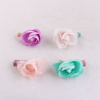 Full color mini cute kid artificial rose hair clip set