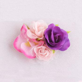 Newest girl beaded artificial rose flower alligator hair clip