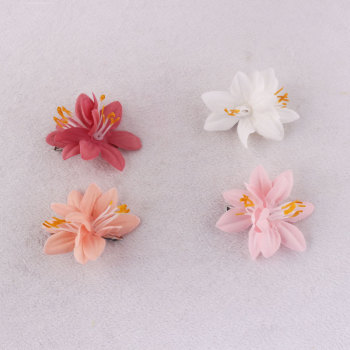 Customized colourful child artificial lily flower hair clip mini daffodil hairpin