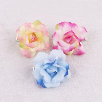 China wholesale chromatic silk flower rose hair clip women hair