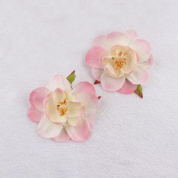 Pink artificial peach flower hair clips silk blossom flower wholesale